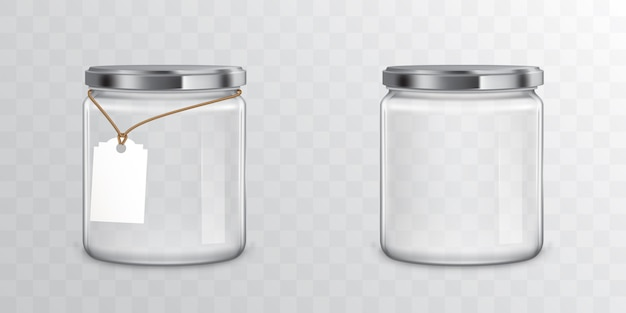 Glass jars with metal libs and tag