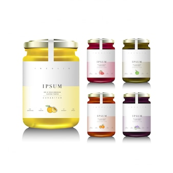 Glass jars with with jam, configure or honey.  illustration. packaging collection. label for jam. bank realistic.