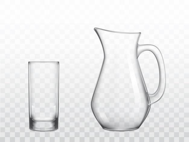 Стеклянный кувшин и стакан хайбол реалистичные вектор