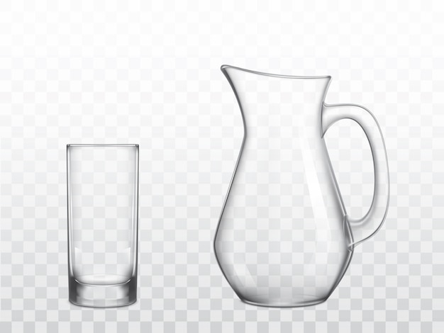 Glass jug and highball glass realistic vector
