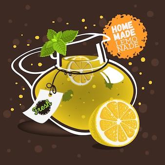 Glass jug pitcher pot filled up with homemade lemonade