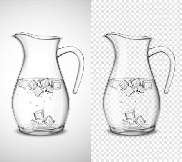Glass jug with water and ice