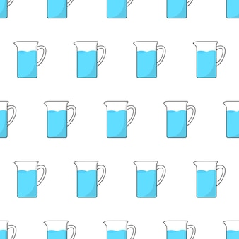 Стеклянный кувшин с водой бесшовные модели на белом фоне. кувшин тема векторные иллюстрации
