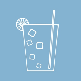 Glass of juice, cocktail or soda cup with ice and straw