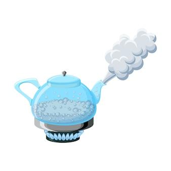 Стеклянный чайник с кипящей водой и паром
