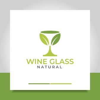 ガラスの葉のロゴデザインまたはワインの葉