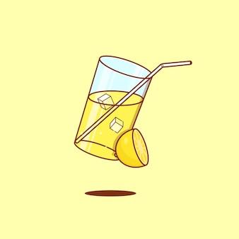 A glass of lemonade in flat style