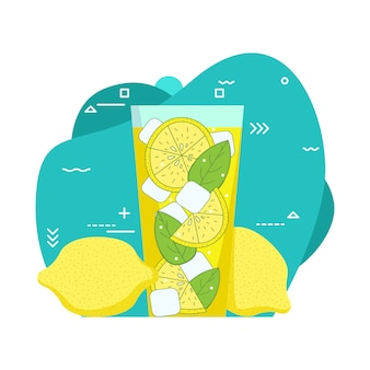 Glass of lemonade and ice cubes.