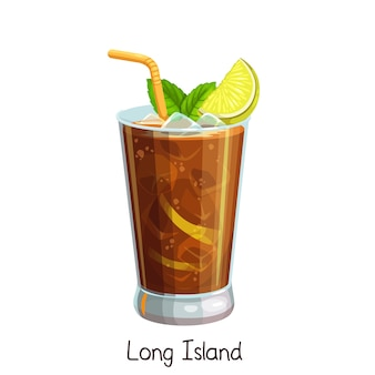 Glass of long island cocktail with slice lemon and mint leaves  on white. color illustration summer alcohol drink.