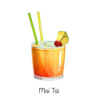 Glass of mai tai cocktail with slice pineapple and cherry  on white. color illustration summer alcohol drink.