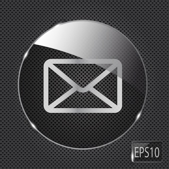 Glass mail button icon on metal background