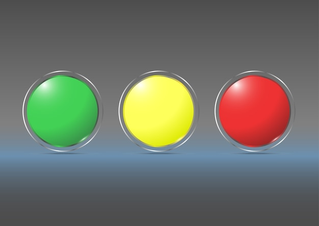 Glass marbles with yellow, green, red ,  vector illustration