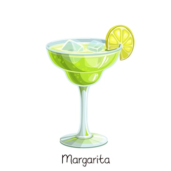 Glass of margarita cocktail with lime slice  on white. color illustration summer alcohol drink.