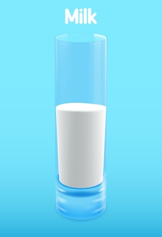 Glass of milk . illustration isolated on background.