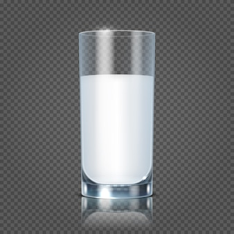 Glass of milk isolated on transparent checkered background vector illustration. healthy beverage fre