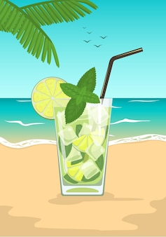 Glass of mojito cocktail with mint and straw on summer sea beach