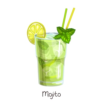 Glass of mojito cocktail with slice lemon and mint leaves  on white. color illustration summer alcohol drink.