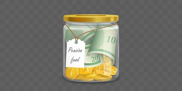 Стеклянная копилка с долларами пенсионного фонда
