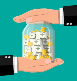 Glass money jar full of gold coins and banknotes and hands. saving dollar coin in moneybox. growth, income, savings, investment. symbol of wealth. business success.