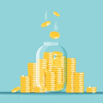 Glass money jar full of gold coins growth income savings investment symbol of wealth business