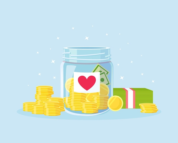 Glass money jar full of gold coins with heart sticker for donate. saving dollar coin in moneybox. donation, volunteers charity. growth of income, savings, investment. business success