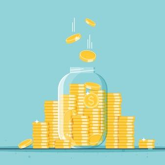 Стеклянная банка для денег, полная золотых монет рост доходов сбережений инвестиций символ богатства бизнес