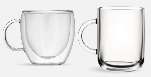 ガラスマグ。透明なガラスのティーカップ、白い背景の上の孤立したイラスト。コーヒードリンクダブルウォールカップ。リアルなホットカプチーノジャー、キッチンガラス製品セット