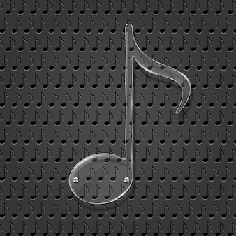 Glass music note sign