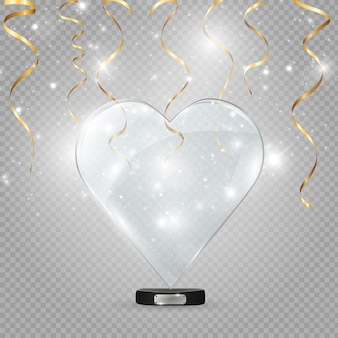 Glass and neon heart on a transparent background, illustration.