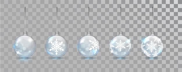 Стеклянные новогодние шары с рисунком снежинки