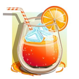 スライスした果物の分離と100%オレンジジュースのガラス