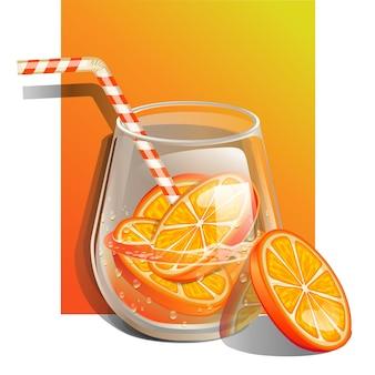 Стакан настоянной воды со свежим апельсином и соломинкой