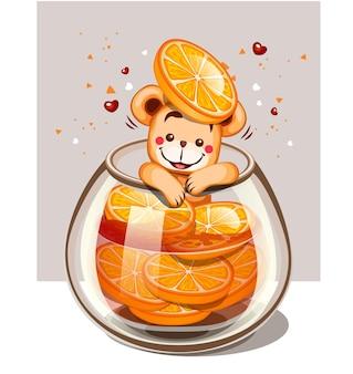 レモンのグラスにクマの水を注入
