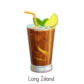 Стакан коктейля лонг-айленд с ломтиком лимона и листьями мяты на белом. цветные иллюстрации летний алкогольный напиток.