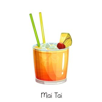 Стакан коктейля май тай с ломтиком ананаса и вишни на белом. цветные иллюстрации летний алкогольный напиток.