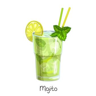 白地にスライスレモンとミントの葉を添えたモヒートカクテルのグラス。カラーイラスト夏のアルコール飲料。