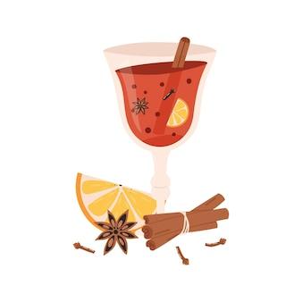 Стакан горячего глинтвейна с палочкой корицы, апельсином, анисом и гвоздикой