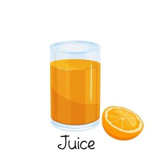 Стакан апельсинового сока и долька апельсина, значок напитка с фруктами.