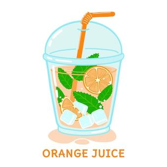 ミントとストローの白い背景で隔離のベクトル図とオレンジジュースのガラス