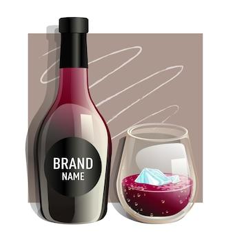 アイスキューブとボトルと赤ワインのガラス