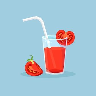 토마토 슬라이스 토마토 주스의 유리입니다. 건강한 다이어트 식품