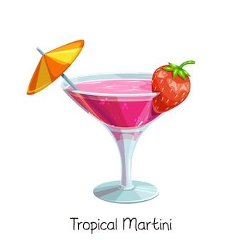 白地にイチゴと傘を添えたトロピカルマティーニのグラス。カラーイラスト夏のアルコール飲料。