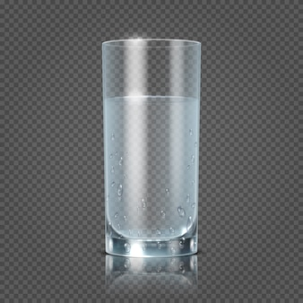 Glass of water isolated on transparent checkered background vector illustration. Cup with clear fres