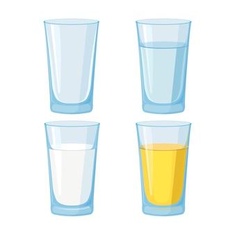 Стакан воды, сока и молока и пустой набор.