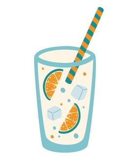 レモンスライスとストローと水のガラス。氷とレモネード。レモン水の概念。冷たい飲み物暑い日には本物の喜び。レモン汁。フラットベクトルイラスト。