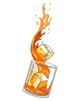 透明な背景に分離された氷とウイスキーのガラス。