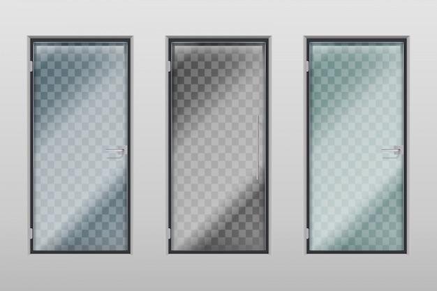 Glass office doors. modern interior transparent door with handle and lock. set
