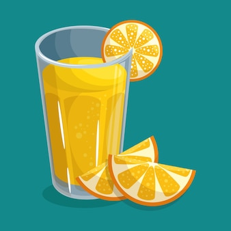 Glass of orange juice with slices of fruit