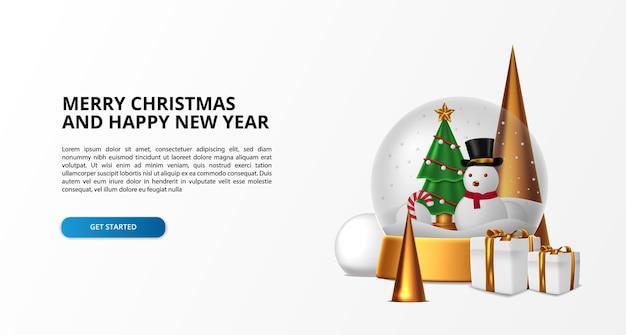 雪だるまとクリスマスツリーでメリークリスマスと新年あけましておめでとうございますのためのガラス球の装飾。シンプルで贅沢なデザイン