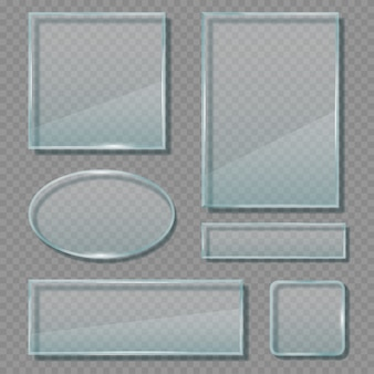 Glass panels. acrylic transparent reflective frames geometrical empty shapes banners template